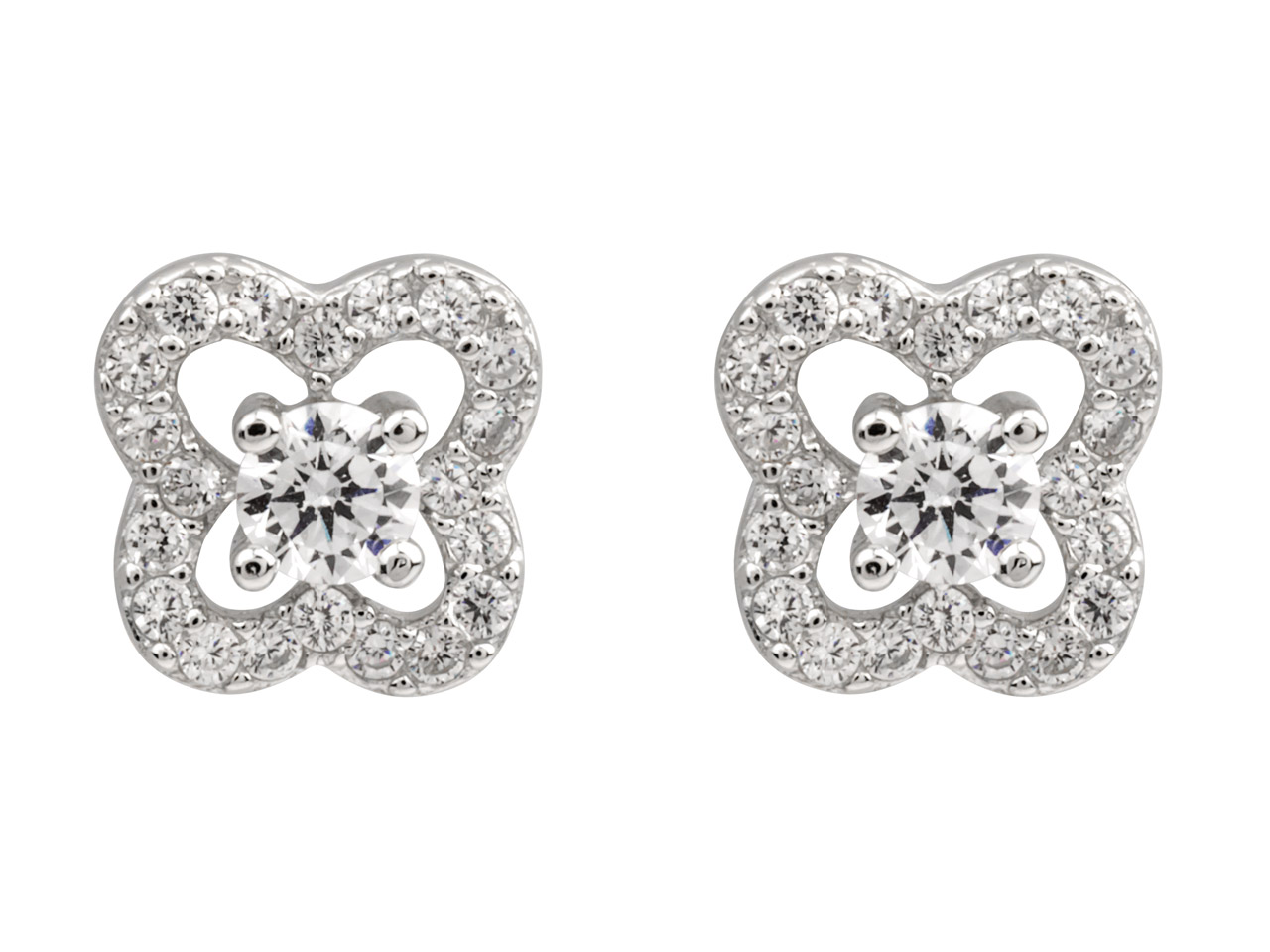 Sterling Silver Flower Stud        Earrings Set With Cubic Zirconia