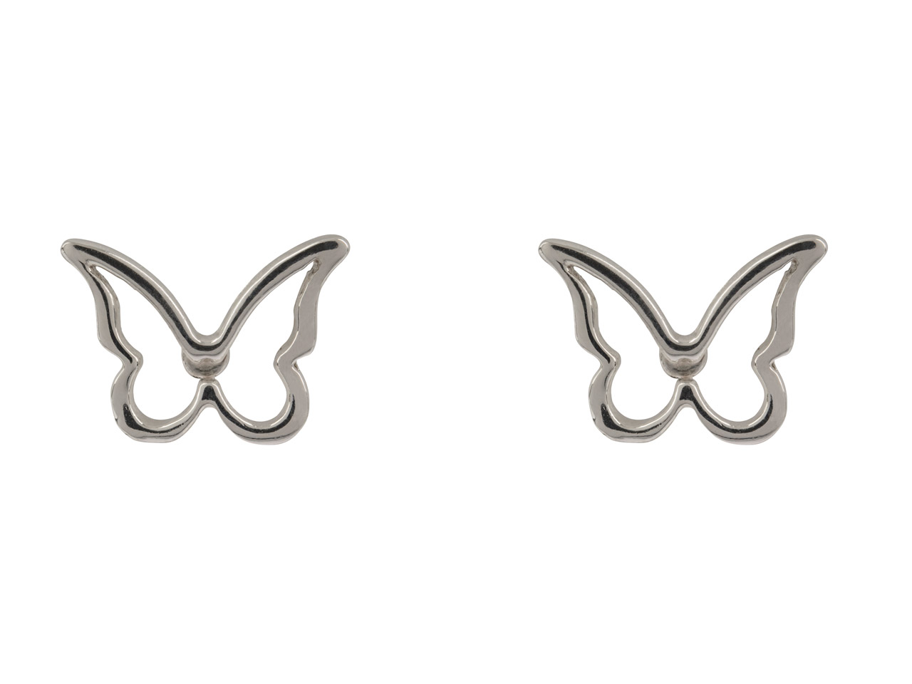 Sterling Silver Butterfly Outline  Stud Earrings