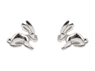 Sterling Silver Small Rabbit Stud  Earrings