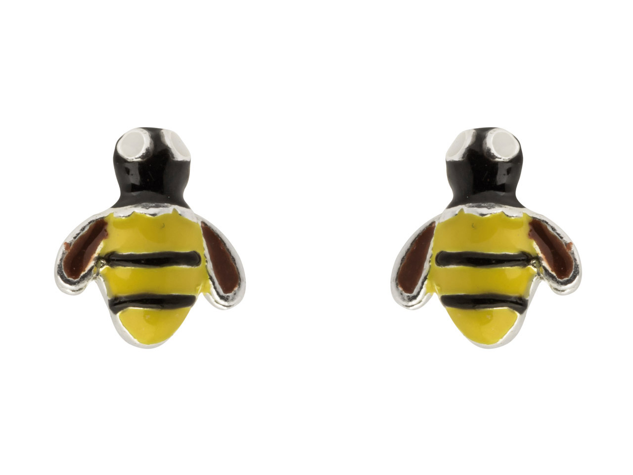 Sterling Silver Bumble Bee Enamel  Stud Earrings