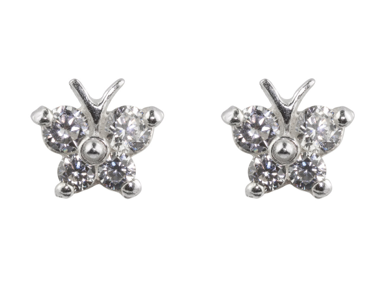 Sterling Silver Butterfly Stud     Earrings With Colourless           Cubic Zirconia