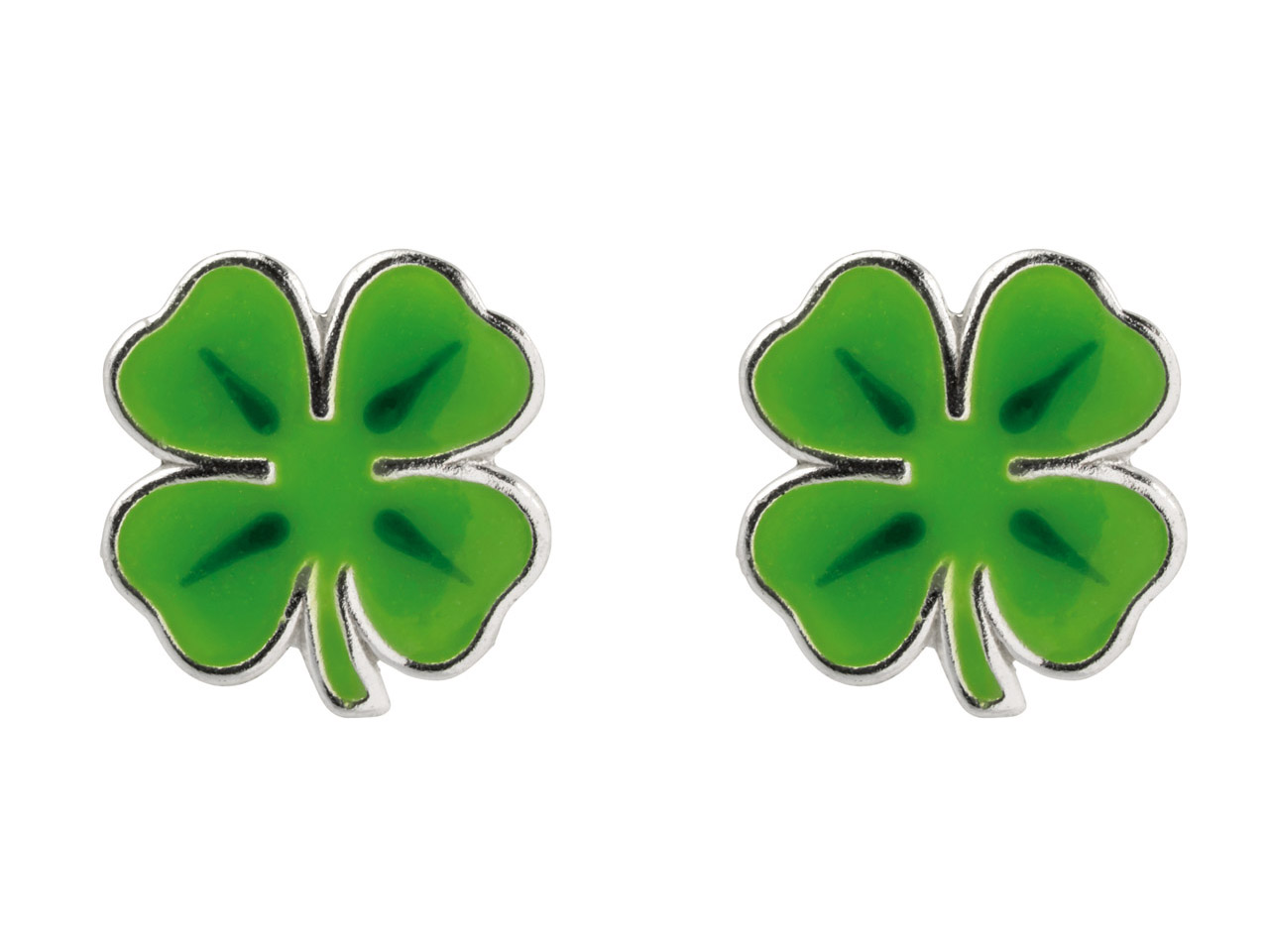 Sterling Silver Four Leaf Clover   Enamel Stud Earrings