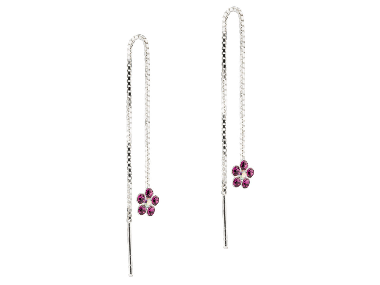 Sterling Silver Threadable Earrings With Crystal Set Flower