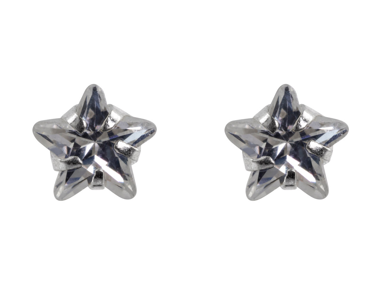 Sterling Silver Star Stud Earrings With Colourless Cubic Zirconia