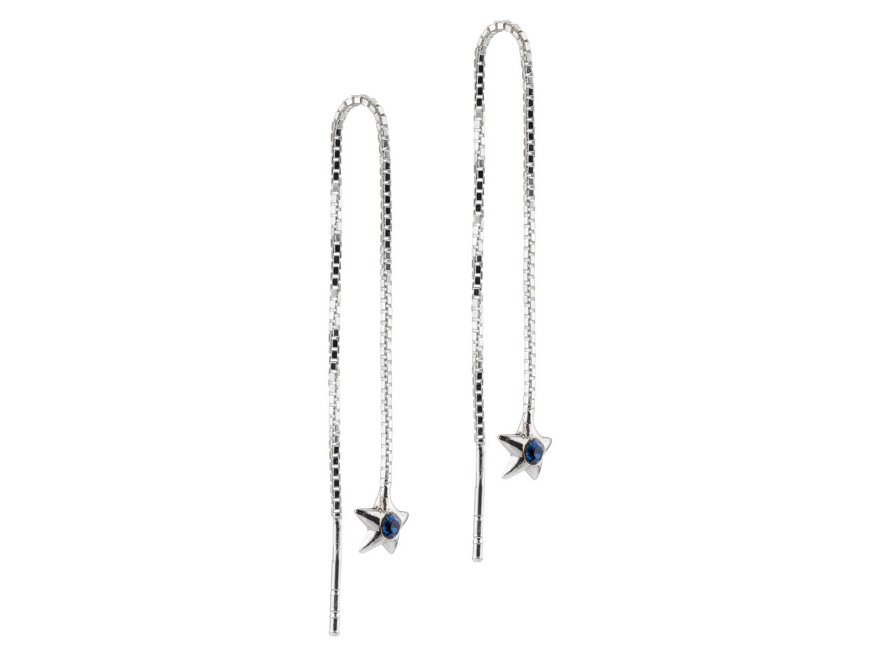 Sterling Silver Threadable Earrings With Blue Crystal Set Star