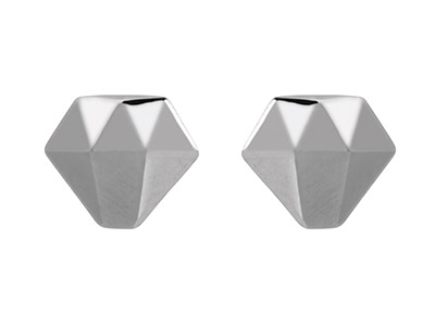Sterling-Silver-Diamond-Shape-Stud-Ea...