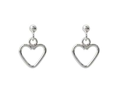 Sterling Silver Heart Design Drop  Earrings