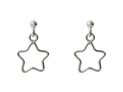 Sterling Silver Star Design Drop   Earrings