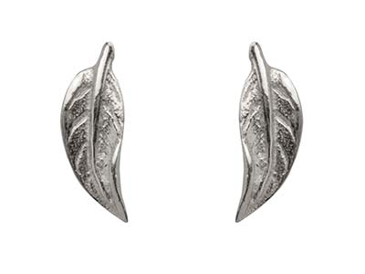 Sterling Silver Leaf Design Stud   Earrings