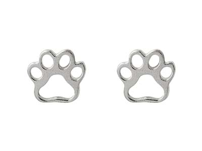 Sterling Silver Paw Design Stud    Earrings