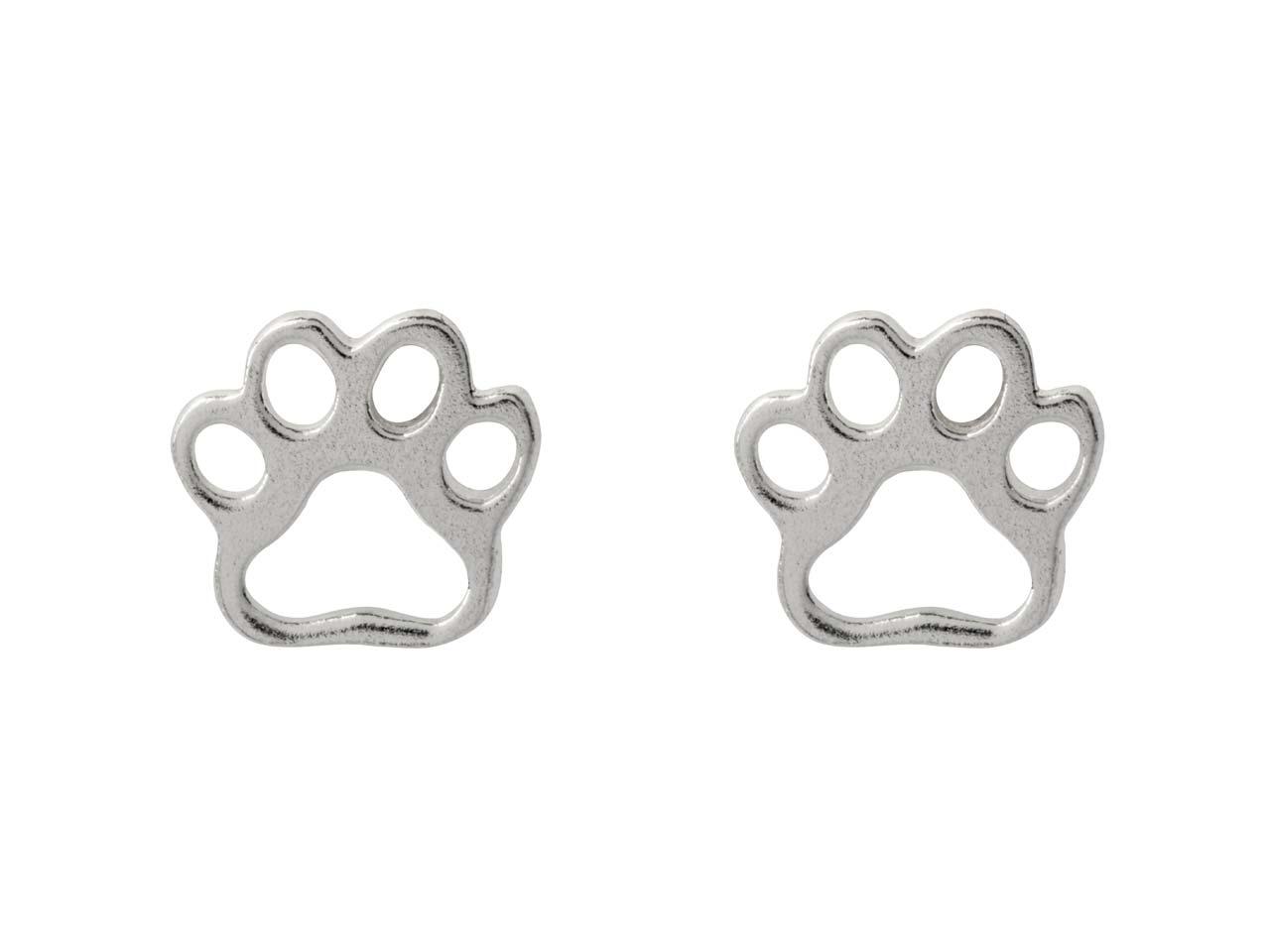 Sterling Silver Paw Design Stud    Earrings
