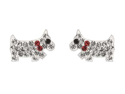 Sterling Silver Dog Design Stud    Earrings Set With Cubic Zirconia