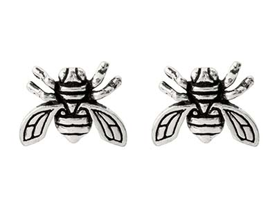 Sterling Silver Bee Design Stud    Earrings