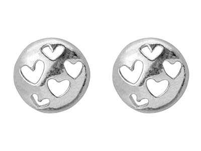 Sterling Silver Round Stud Earrings With Cut-out Heart Design