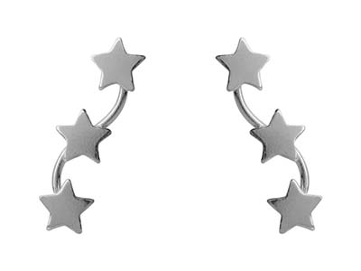 Sterling Silver Star Bar Design    Earrings