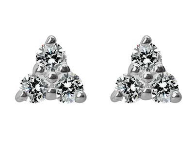 Sterling Silver Three              Cubic Zirconia Stud Earrings