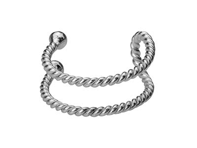 Sterling Silver Rope Design Cuff   Earring Sold Individually