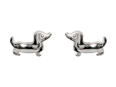 Sterling Silver Dachshund Design   Earrings