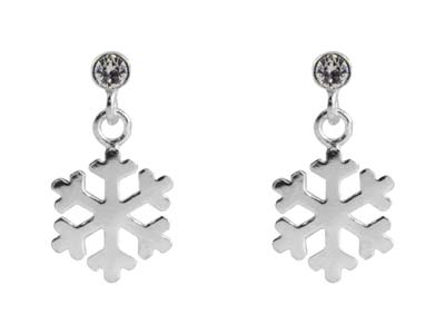 Sterling Silver Snowflake Design   Drop Earrings Set With             Cubic Zirconia