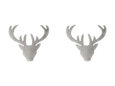 Sterling Silver Stag Design Stud   Earrings