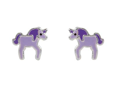 Sterling Silver Unicorn Enamel     Design Stud Earrings