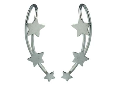 Sterling Silver Star Ear Climber   Earrings