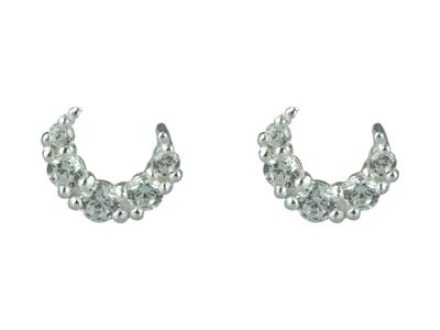 Sterling Silver Crescent Moon      Design Stud Earrings With          Cubic Zirconia