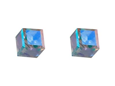 Sterling Silver Crystal Cube Stud  Earrings