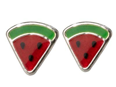 Sterling Silver Watermelon Enamel  Design Stud Earrings