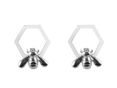 Sterling Silver Bee And Honeycomb  Design Stud Earrings