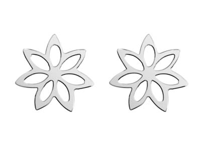 Sterling Silver Flower Design Stud Earrings