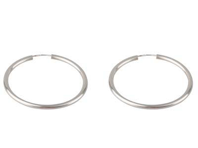 Sterling Silver Plain Hoop Earrings 33mm