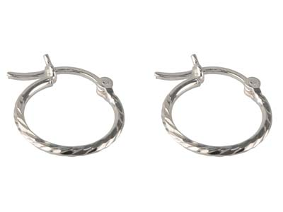 Sterling Silver Textured Hoop      Earrings 15mm
