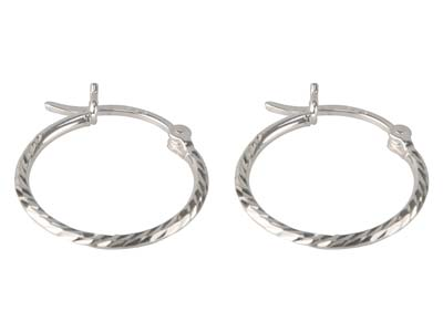 Sterling Silver Textured Hoop      Earrings 18mm