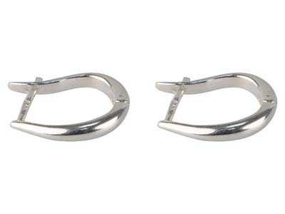 Sterling Silver Plain Hinged Hoop  Earrings