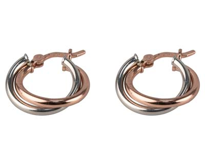 Sterling Silver Double Hoop        Earrings Rose Gold Plated