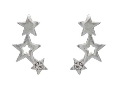 Sterling Silver Trio Star Design   Stud Earrings With White Crystal