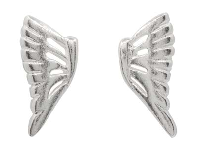 Sterling Silver Angel Wing Design  Stud Earrings