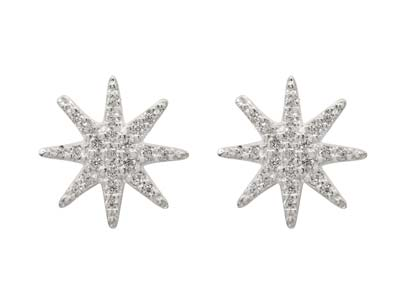Sterling Silver Octogram Star      Design Stud Earrings With          Cubic Zirconia