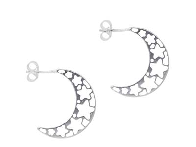 Sterling Silver Hoop Earrings With Star Filigree Design