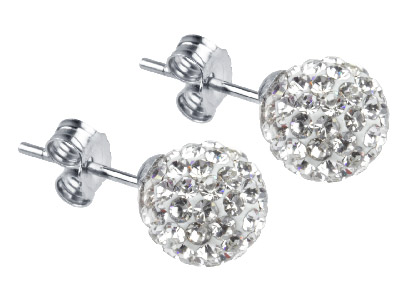 Shamballa Earrings, White Crystal Glitter Ball With Sterling Silver