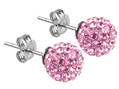 Shamballa Earrings Pink Crystal Glitter Ball With Sterling Silver
