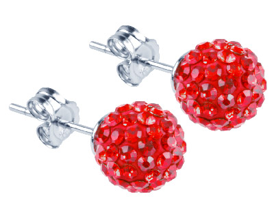 Shamballa Earrings Red Crystal Glitter Ball With Sterling Silver