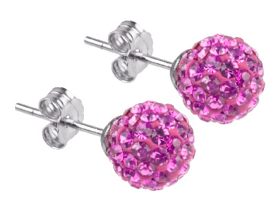 Shamballa Earrings Hot Pink Crystal Glitter Ball With Sterling Silver