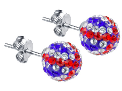 Shamballa Earrings Union Crystal Glitter Ball With Sterling Silver