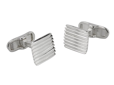 Sterling Silver Cuff Link Square   Corrugated