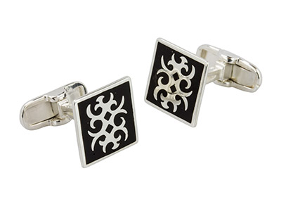 Sterling Silver Cuff Link Square   Black Enamel Abstract Design