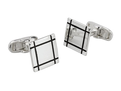 Sterling Silver Cuff Link Square   Black Enamel Lines