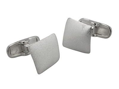 Sterling Silver Cuff Link Square   Matte Finish Slight Curve