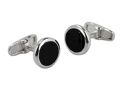 Sterling Silver Cuff Link Round    Black Centre